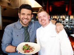 Atlanta: Adam poses with Two Urban Licks chef Russell Kook and his special off-menu dish of quail.