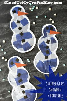 Stained Glass Snowmen + Printable- cute winter craft for kids!
