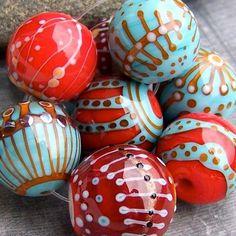 Items similar to MruMru Handmade Lampwork Glass Bead set. on Etsy Clay Beads, Lampwork Beads, Purple Glass, Light Turquoise, Handmade Beads, How To Make Beads, Bead Art, Etsy, Glass Art