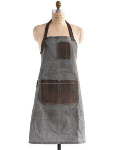 Birdkage: Peyton Utility Long Bib Apron in Wax Canvas & Leather, 4 Colors #MarthaStewartAmericanMade #americanmadeebaysweeps