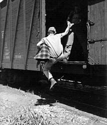 all aboard. Saw an interesting documentary about hobos hopping trains in the 30's. I think it was called Riding the Rails.