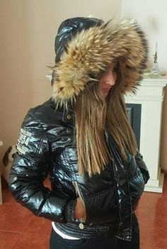 Down Suit, Black Down, Puffy Jacket, World Best Photos, Cool Girl, Jackets For Women, Girl Fashion, Clear Raincoat, Projects