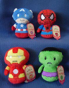 Hallmark Marvel Itty Bittys ~ Captain America, Spider Man, Iron Man & Hulk