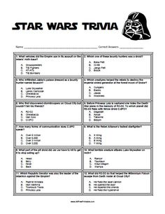 Free Printable Star Wars Trivia