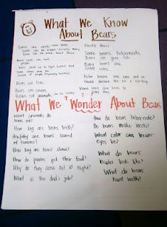 What we know about bears/what we wonder (kind of a KWL chart)