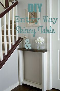 Skinny entryway table. Build taller & Hang hooks from underside of top for coats instead of screwing into plaster walls