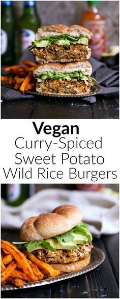 Nutritious, amazing sweet potato burgers made with wild rice, chickpeas and curry spices! Love the dried cranberries for a touch of sweetness in these!