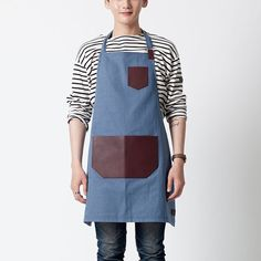 Leather Pocket Unisex Apron Stripe Blue by ARC1_ by ARC1designLab