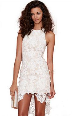 This is pretty and different  Hollow out high lowl lace dress