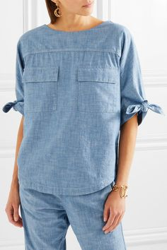 Chloé | Cotton-chambray top | NET-A-PORTER.COM