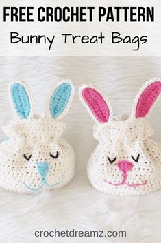 Crochet Bunny Treat Bag, Easy Pattern - Crochet Dreamz This crochet bunny treat bag can be made with just one skein of Lily Sugar 'n Cream cotton yarn. It looks cute from the front as well as the back. Crochet Easter, Easter Crochet Patterns, Bag Crochet, Holiday Crochet, Crochet Toys, Crochet Baby, Free Crochet, Crochet Baskets, Drops Paris
