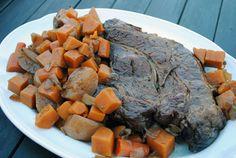 Balsamic Braised Pot Roast - pot roast, sweet potatoes, carrots & turnips with a twist...balsamic vinegar