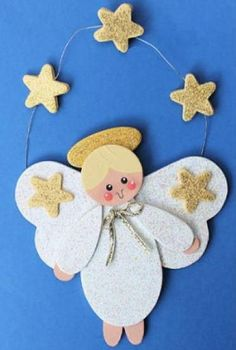 Golden Star Angel DIY Wood Ornament | AllFreeChristmasCrafts.com