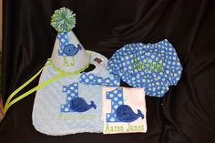Whale Themed 1st Birthday | Whale Theme 1st Birthday Party Deluxe Set with Hat, bib, diaper cover ...