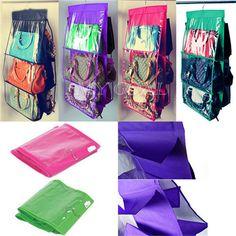 hogar bastidores del armario armarios de organizador colgando bolsos de moda bolsos de mano color beige
