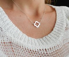 Lucky quatrefoil necklace in sterling silver by LemonSweetJewelry LOVE quatrefoils, and shout out to my phi mus!