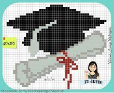 Chapéu formatura Xmas Cross Stitch, Just Cross Stitch, Cross Stitch Cards, Cross Stitching, Cross Stitch Embroidery, Bueaty And The Beast, Cross Stitch Designs, Cross Stitch Patterns, Swedish Weaving