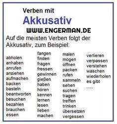 German Grammar, German Words, Akkusativ Deutsch, Verben Mit Dativ, German Resources, Deutsch Language, Spanish Lessons For Kids, Germany Language, Germany