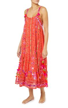 b32de684d3fbd7 Maxi tribal dress complete with flirty side split and colourful tassels in  deliciously vibrant tomato cotton. Juliet Dunn