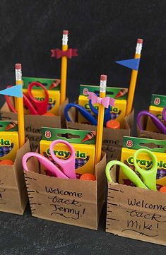 Teachers: Welcome your students back to school with these personalized school supply gift bags. Stock them with scissors, pencils and other essentials to get the school year off to a great start. - wholesale bags, all black bag, replica bags *ad Lehrer Back To School Party, 1st Day Of School, Beginning Of School, School Parties, Middle School, High School, Back To School Gifts For Kids, School School, School Hacks