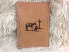 Handcrafted  Leather Bible Cover Laser Engraved with a Praying Cowboy by MyBrandedCreations on Etsy