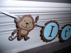 Boy Baby Shower Banner  IT'S A BOY monkey by CreativePartyBanners, $28.00