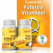 "Pachet promoțional 2 x Super Vitamin D3 + CARTE CADOU: ""Puterea Vitaminei D"", autor Dr. Sarfraz Zaidi"