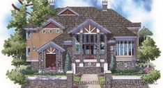 Eplans Craftsman House Plan - Mountain Retreat - 4359 Square Feet and 3 Bedrooms from Eplans - House Plan Code Custom Home Plans, Custom Homes, Cabana, Mountain House Plans, Mountain Villa, Two Sided Fireplace, Brick Columns, Facade House, House Floor