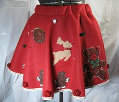 Ugly Christmas Sweater Party Red Felt Circle Skirt by Dicardomy, $35.00