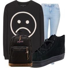 Black ♥ by bety-vosatkova on Polyvore featuring Marc by Marc Jacobs, Topshop, Glamorous and JanSport