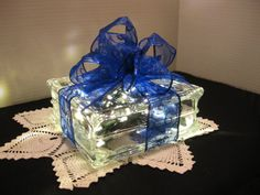 Bright Blue Swirl Ribbon with WARM WHITE  LED by Originalsbysuej, $35.00