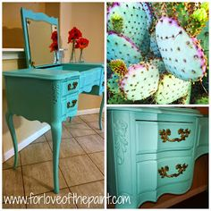 Color Story: Inspiration - prickly pear cactus! Tiffany blue refinish in Annie Sloan Chalk Paint Florence and Pure White blend by For Love of the Paint. #diy #upcycle