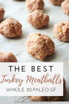 """A family friendly favorite dinner these turkey meatballs come together quick and easy, and are made without egg or dairy! A """"secret"""" ingredient can also transform them to making them gluten free. Baked turkey meatballs are a great meal everyone will love. Healthy Meatballs, Gluten Free Meatballs, Whole 30 Snacks, Whole 30 Recipes, Turkey Recipes, Dinner Recipes, Meatball Recipes, Holiday Recipes, Ground Turkey Meatballs"""