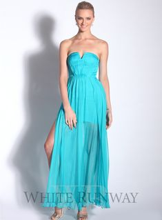 Exhale Silk Maxi Dress. A gorgeous full length dress by Australian designer Truese. A strapless style featuring a v cut-out on the neckline and subtle mid-thigh side splits.