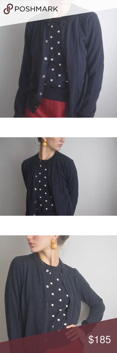 Comme des Garçons black & white polka dot cardiga Comme des Garcons black and white polka dot wool cardigan sweater, marked size M.  100% wool, made in Japan. Attached as one piece.   Bust: 36 inches Sleeves: 23.5 inches Length: 22 inches Comme des Garcons Sweaters Cardigans