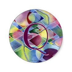 Kaleidoscope Customizable Abstract Classic Round Sticker. Change the letter to your own initial. Cool gifts with many uses.