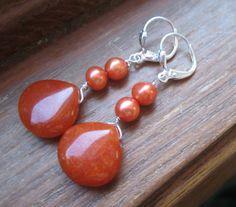 SALE  Rustic Orange Jade Earrings with Freshwater by LeanneDesigns, $9.50