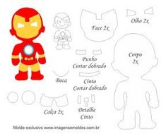 Molde Personagem - Homem de Ferro - Molde para Feltro - EVA, Molde Personagem - Homem de Ferro - Molde para Feltro - EVA e Artesanato Felt Doll Patterns, Felt Crafts Patterns, Stuffed Toys Patterns, Fabric Dolls, Paper Dolls, Iron Man, Sewing Crafts, Sewing Projects, Felt Templates