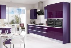 Most Favorite High Gloss Kitchen In Bold Color Ideas: Beauty purple Kitchen design
