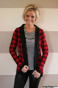 Stitch Fix Buffalo Plaid Sweater. See my full review and how to enter the Stitch Fix Giveaway!