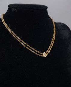 Gold & Diamond Necklace Antique Gold Filled Watch Chain Choker with Diamond Gold Slide