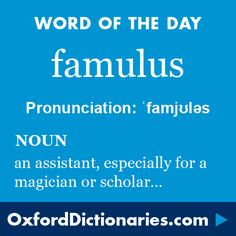 famulus (noun): An assistant or servant, especially one working for a magician or scholar. Word of the Day for 8 December 2015. #WOTD #WordoftheDay #famulus
