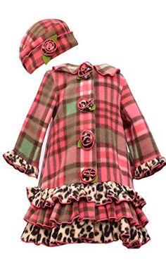 LITTLE GIRLS 4-6X Coral Plaid Tier Ruffle Border Fleece Coat/Hat Set, Coral, Bonnie Jean
