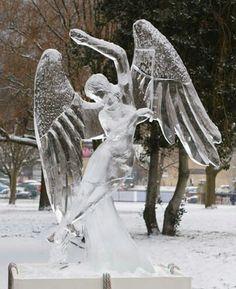 Beautiful Woman Ice Sculpture Angel