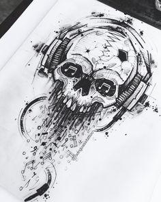 Find the tattoo artist and the perfect inspiration to make your tattoo. - Drawing created by Rodrigo Assi (rodrigoassitattoo) from Balneário Camboriú – SC. Skull Tattoo Design, Skull Tattoos, Body Art Tattoos, Tattoo Designs, How To Draw Tattoos, Faith Tattoos, Quote Tattoos, Music Tattoos, Tattoo Ideas