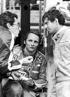 1976 Formula One World Championship.  Monaco Grand Prix, Monte Carlo.  Niki Lauda and Jody Scheckter in discussion with Daniel Audetto.
