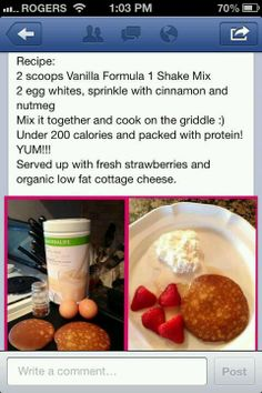 Not just shakes with herbalife! Just made this with pumpkin spice because we didn't have nutmeg--- one pancake made us sooooo full!