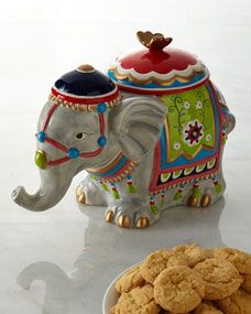 "NM EXCLUSIVE Elephant Cookie Jar <<when I read ""NM Exclusive"" I thought, huh? A New Mexico exclusive? Wha??? Wonder if it really means Nieman Marcus? LOL!"