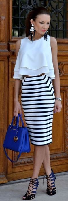 White Cascading Layer Crop top with Stripes Skirt   Chic Street Outfits