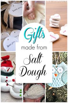 Homemade gifts for kids to make using salt dough! Salt dough is the best! There are so many things to make with salt dough. Here is an incredible list of ideas for creating projects with kids! Preschool Arts And Crafts, Creative Activities For Kids, Crafts For Kids To Make, Diy Crafts To Sell, Diy Gifts For Kids, Fun Gifts, Learning Activities, Homemade Christmas Gifts, Christmas Gifts For Kids